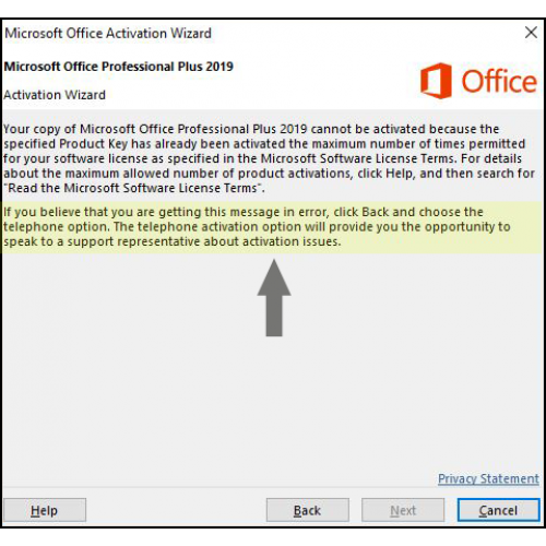 How to activate your Office 2016 and 2019 License Key by telephone